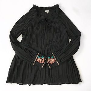 Embroidered Cross stich Top Blouse Shirt Size L
